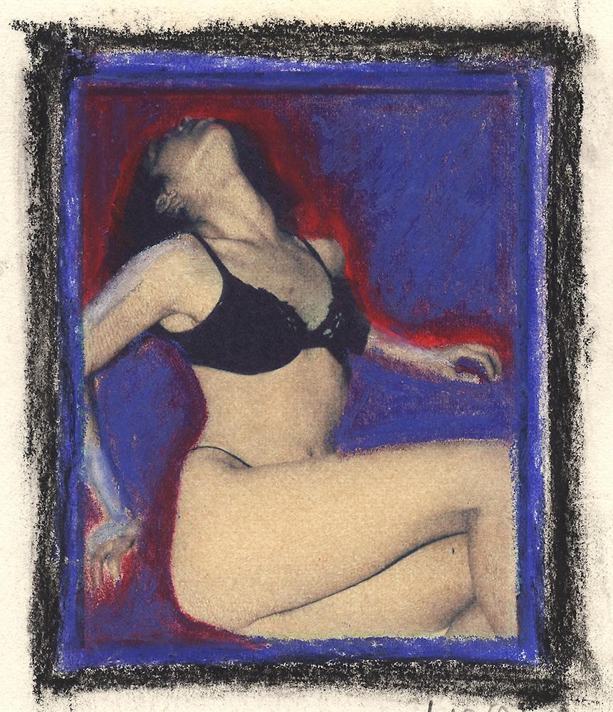 Indira-Cesarine-Girl-in-Black-Polaroid-Transfer-on-Rag-Paper-with-Oil-Pastel-1993-lr.jpg