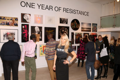 Curator-Indira-Cesarine-at-ONE-YEAR-OF-RESISTANCE-Exhibit-Opening-Recption-The-Untitled-Space-003.jpg