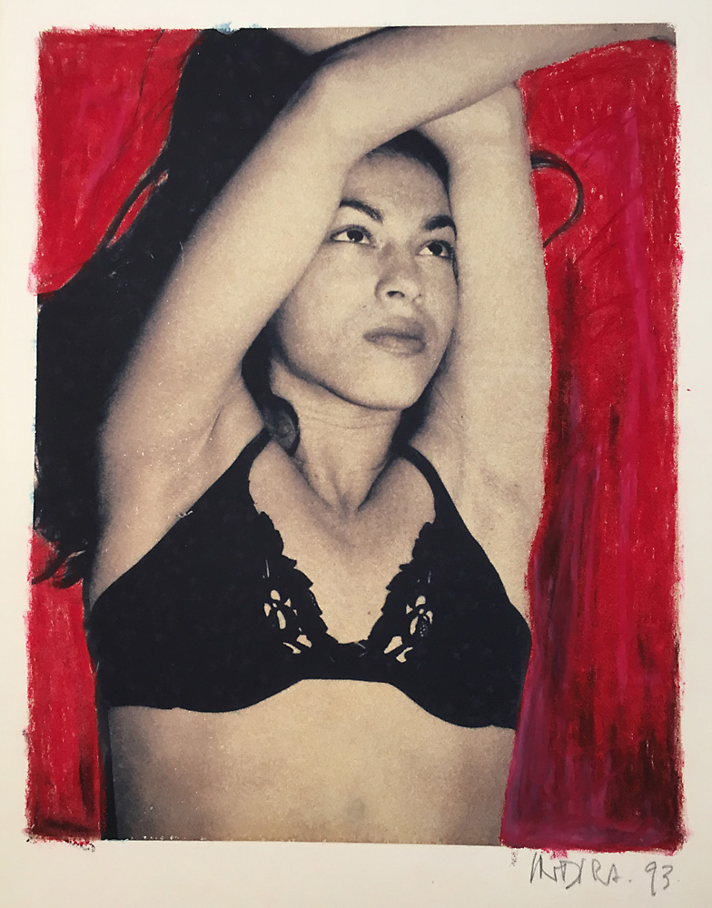 Indira-Cesarine-Girl-in-Black-Poloroid-Transfer-on-Rag-Paper-with-Red-Oil-Pastel-95-x-75-1993.jpg