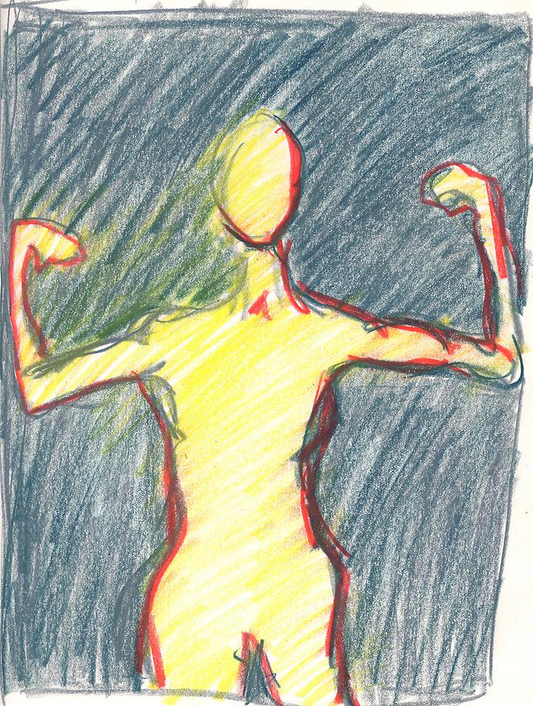Indira-Cesarine-Standing-Oil-Artist-Crayon-on-Paper-1988-lr.jpg