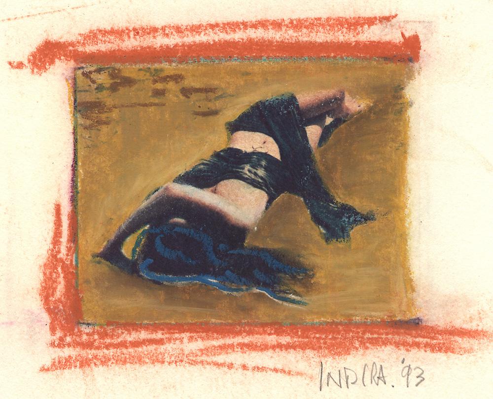 Indira-Cesarine-Girl-on-The-Beach-2-Mixed-Media-Polaroid-Transfer-on-Rag-Paper-with-Oil-Pastels-1993-lr.jpg